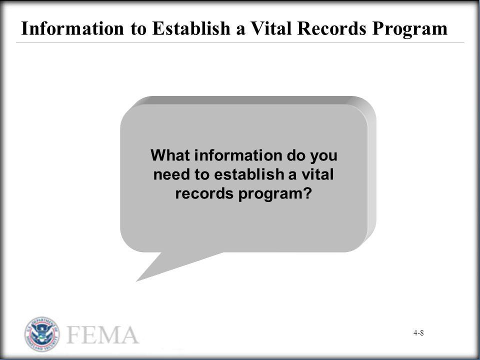 Information to Establish a Vital Records Program