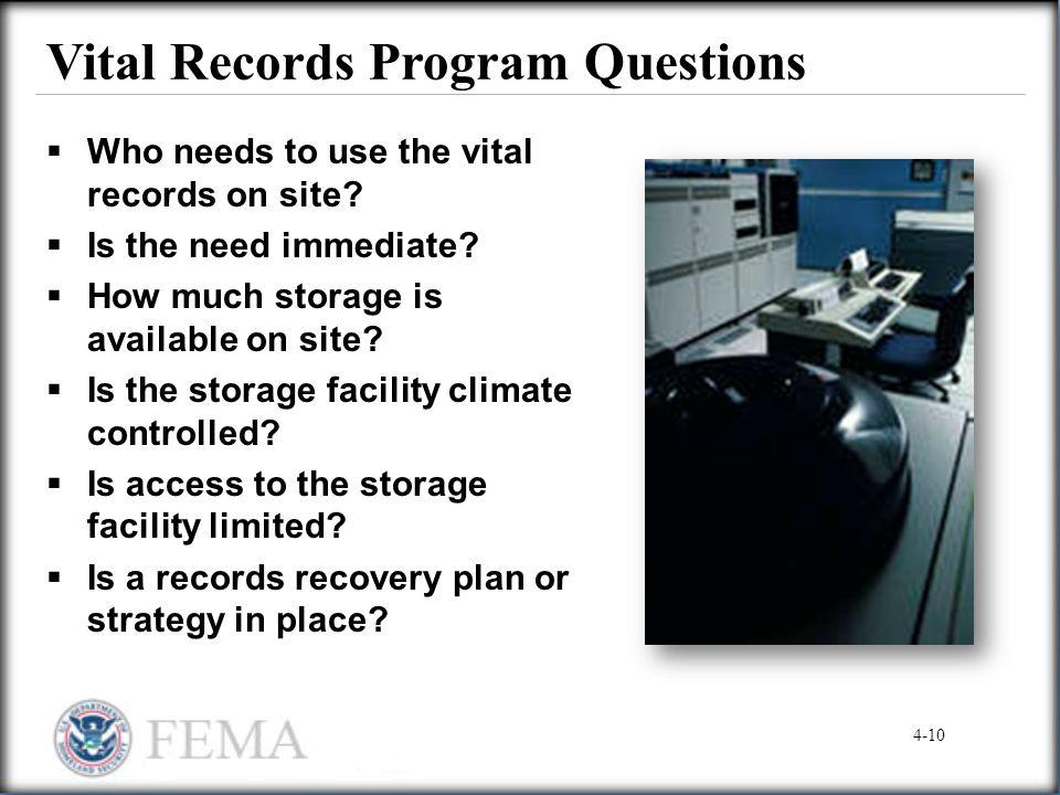 Vital Records Program Questions