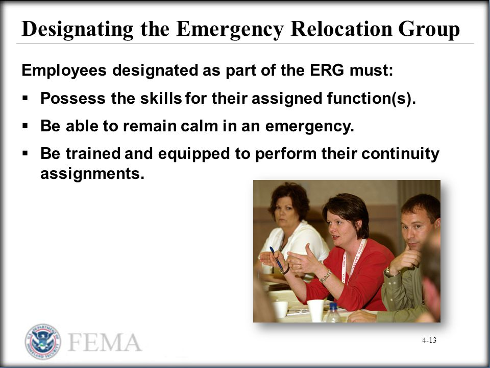 Designating the Emergency Relocation Group
