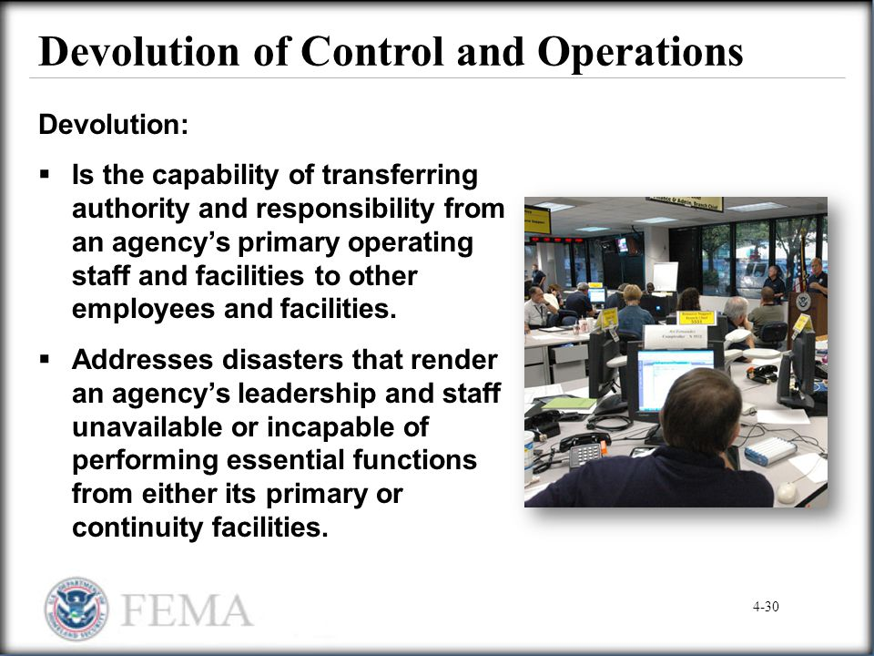 Devolution of Control and Operations