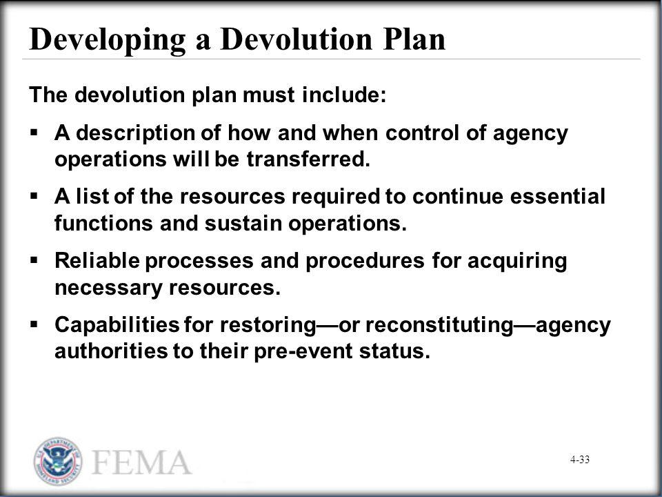 Developing a Devolution Plan
