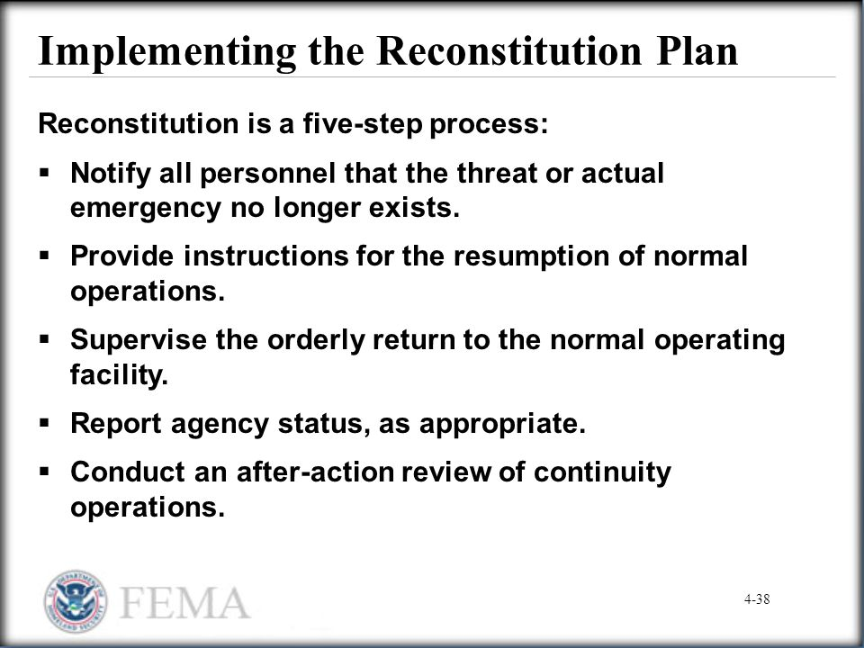 Implementing the Reconstitution Plan