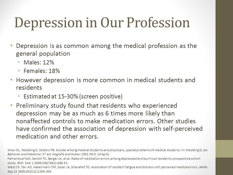 Depression in Our Profession