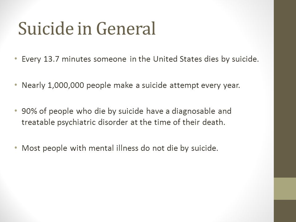 Suicide in General Every 13.7 minutes someone in the United States dies by suicide. Nearly 1,000,000 people make a suicide attempt every year.