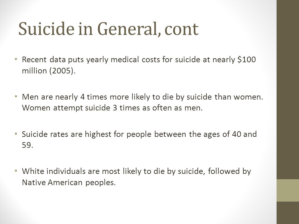Suicide in General, cont