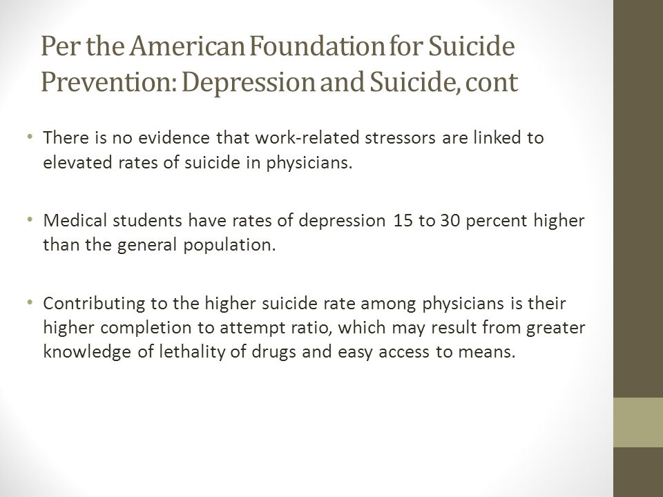 Per the American Foundation for Suicide Prevention: Depression and Suicide, cont