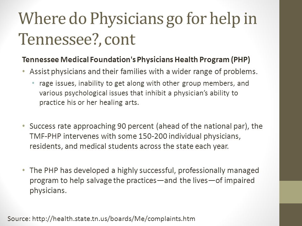 Where do Physicians go for help in Tennessee , cont