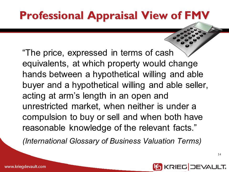 Professional Appraisal View of FMV