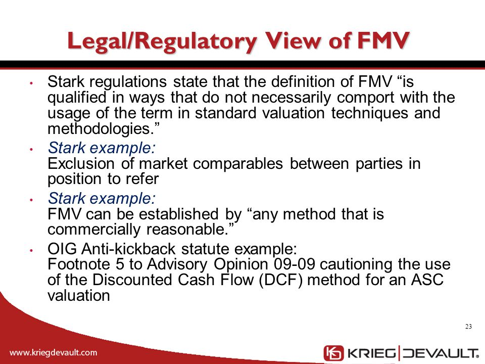 Legal/Regulatory View of FMV