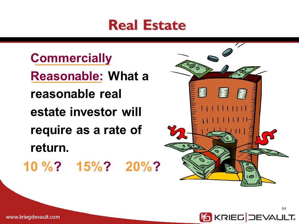 Real Estate Commercially Reasonable: What a reasonable real estate investor will require as a rate of return.