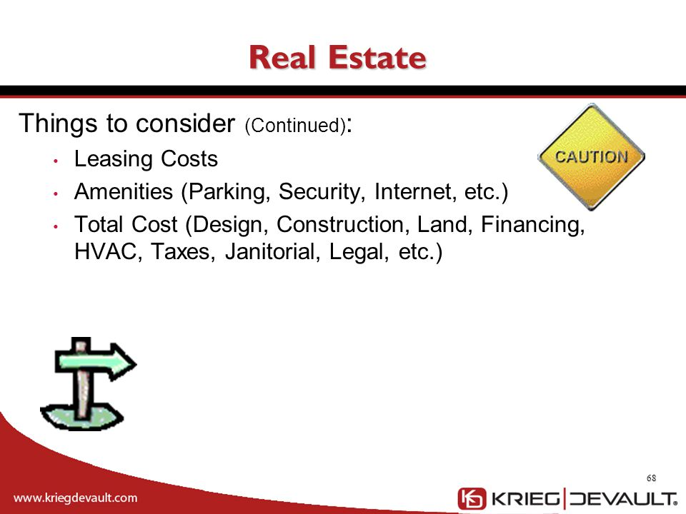 Real Estate Things to consider (Continued): Leasing Costs