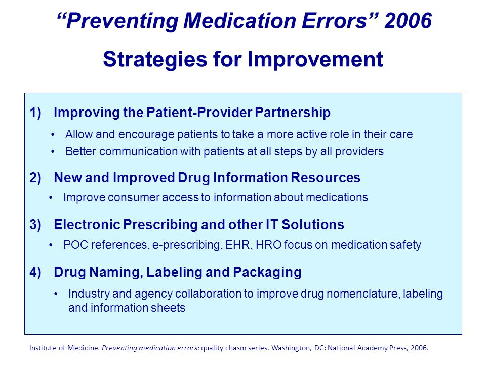 Preventing Medication Errors 2006 Strategies for Improvement