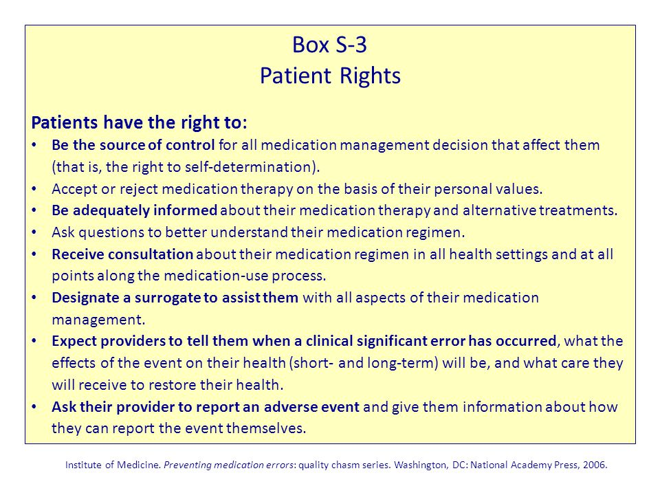 Box S-3 Patient Rights Patients have the right to: