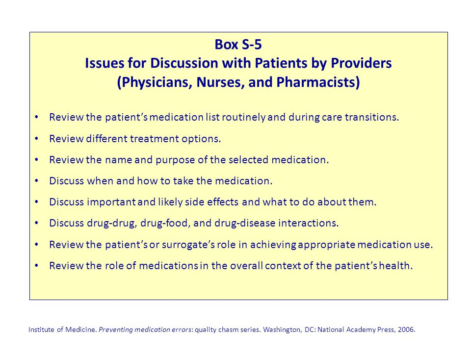 Issues for Discussion with Patients by Providers