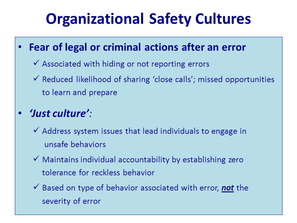 Organizational Safety Cultures