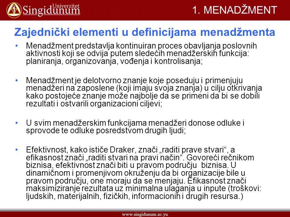 Zajednički elementi u definicijama menadžmenta