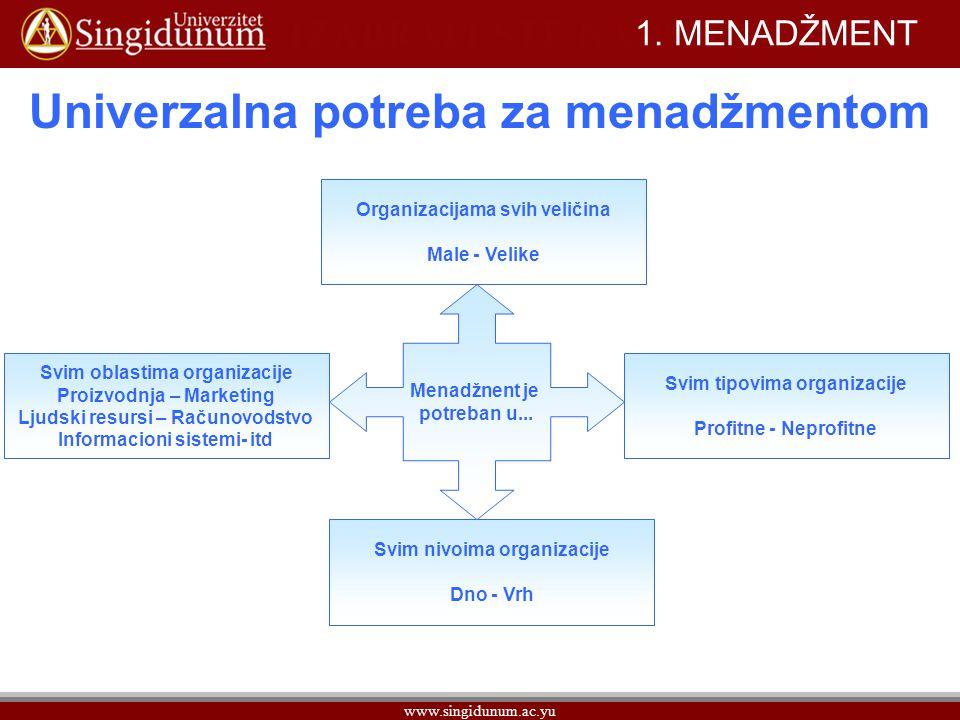 Univerzalna potreba za menadžmentom