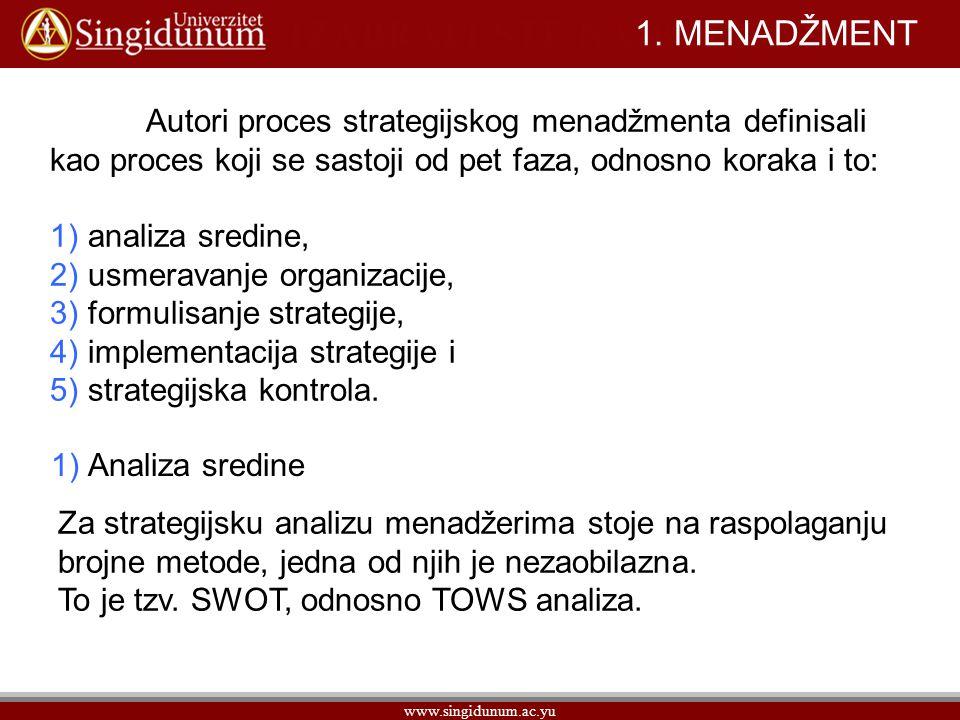 1. MENADŽMENT Autori proces strategijskog menadžmenta definisali kao proces koji se sastoji od pet faza, odnosno koraka i to: