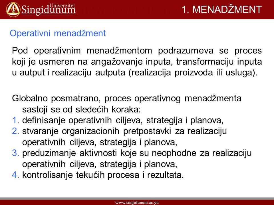 1. MENADŽMENT Operativni menadžment