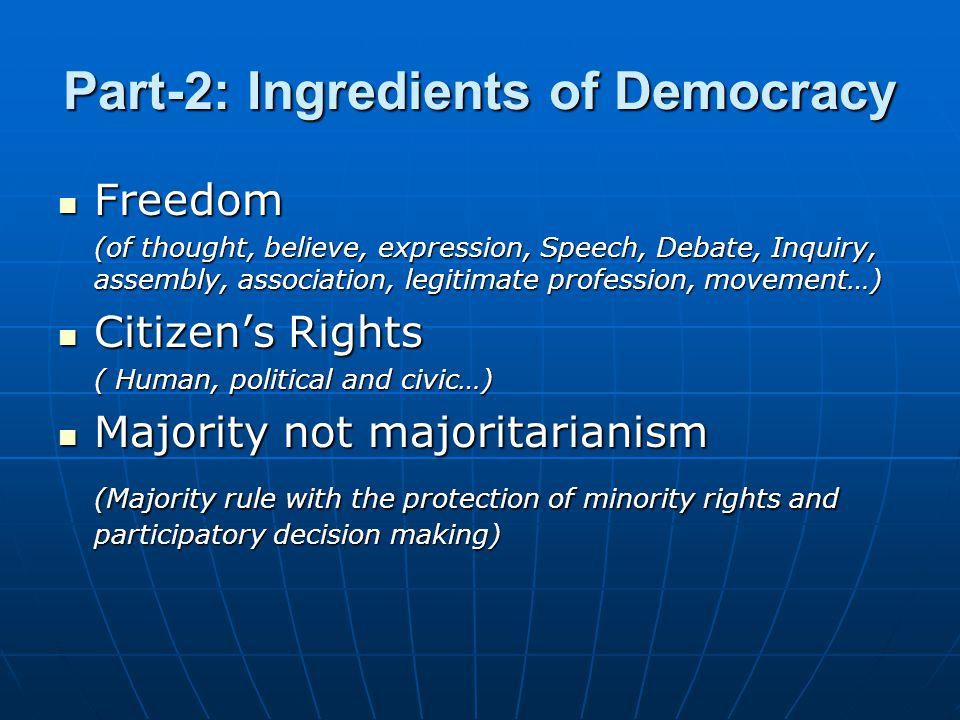 Part-2: Ingredients of Democracy