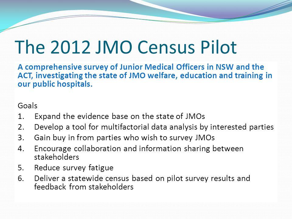 The 2012 JMO Census Pilot