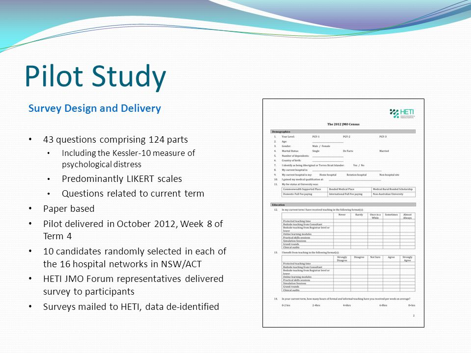 Pilot Study Survey Design and Delivery