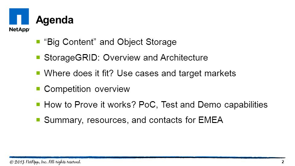 Agenda Big Content and Object Storage