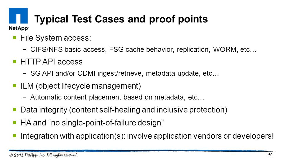 Typical Test Cases and proof points