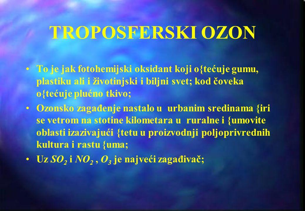 TROPOSFERSKI OZON To je jak fotohemijski oksidant koji o{tećuje gumu, plastiku ali i životinjski i biljni svet; kod čoveka o{tećuje plućno tkivo;