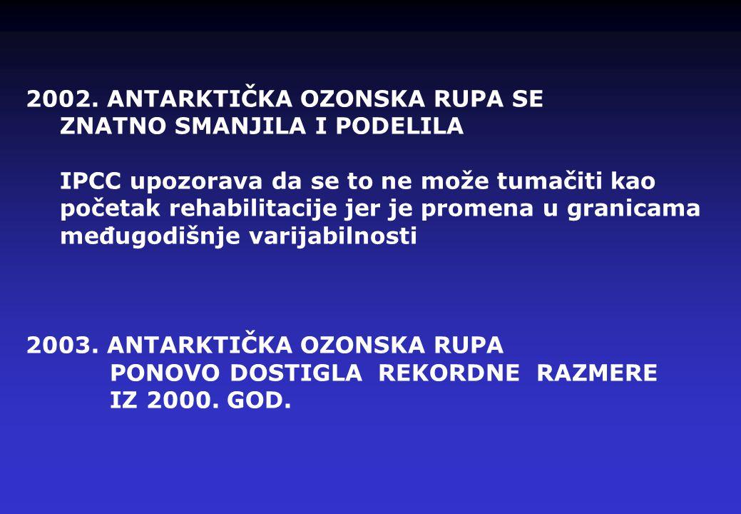 2002. ANTARKTIČKA OZONSKA RUPA SE ZNATNO SMANJILA I PODELILA