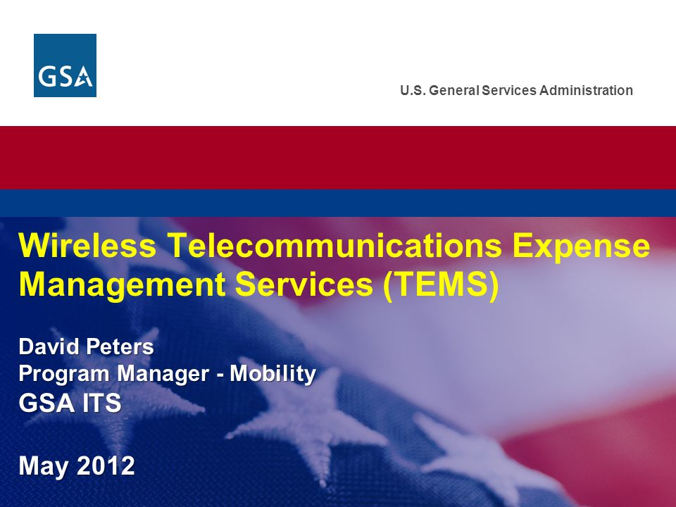 Wireless Telecommunications Expense Management Services (TEMS) David Peters Program Manager - Mobility GSA ITS May 2012