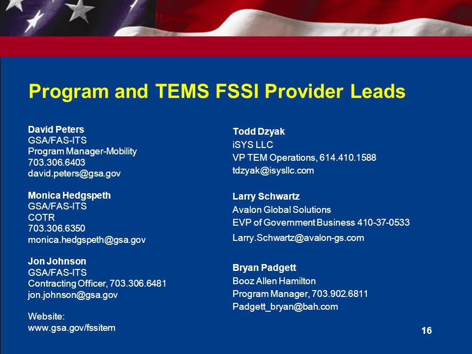 Program and TEMS FSSI Provider Leads
