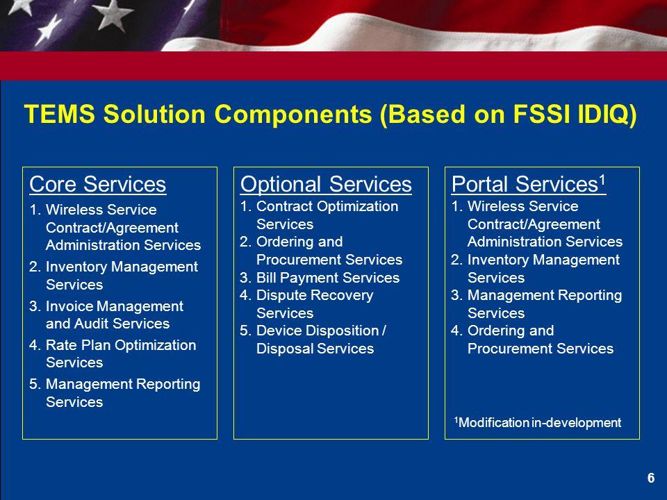 TEMS Solution Components (Based on FSSI IDIQ)