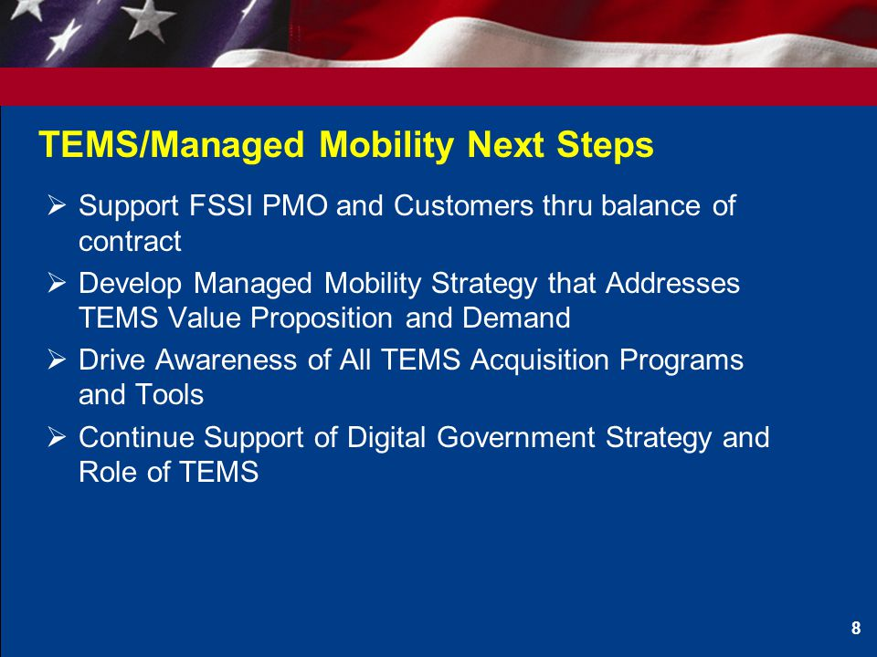 TEMS/Managed Mobility Next Steps