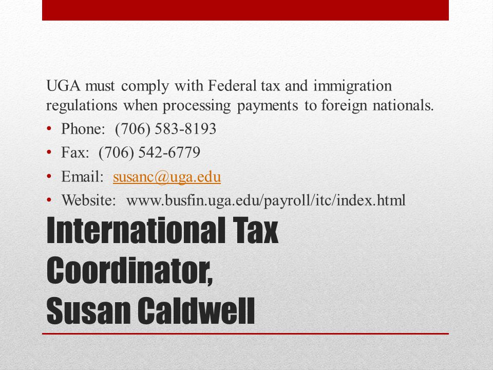 International Tax Coordinator, Susan Caldwell