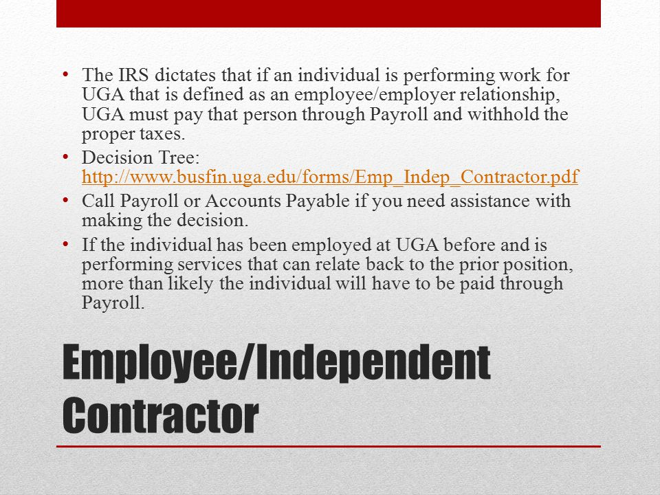 Employee/Independent Contractor