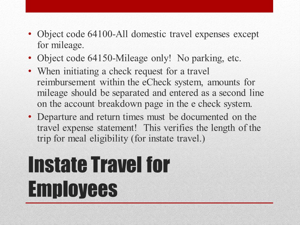 Instate Travel for Employees