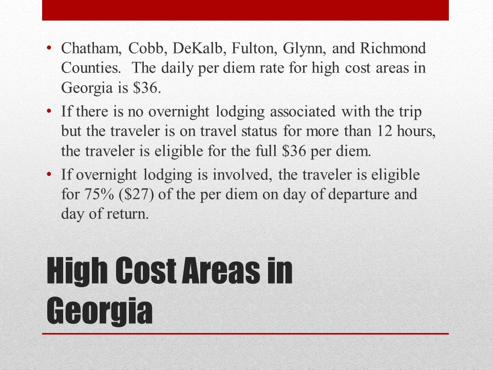 High Cost Areas in Georgia