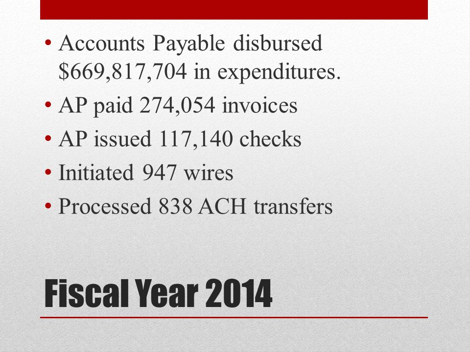 Accounts Payable disbursed $669,817,704 in expenditures.