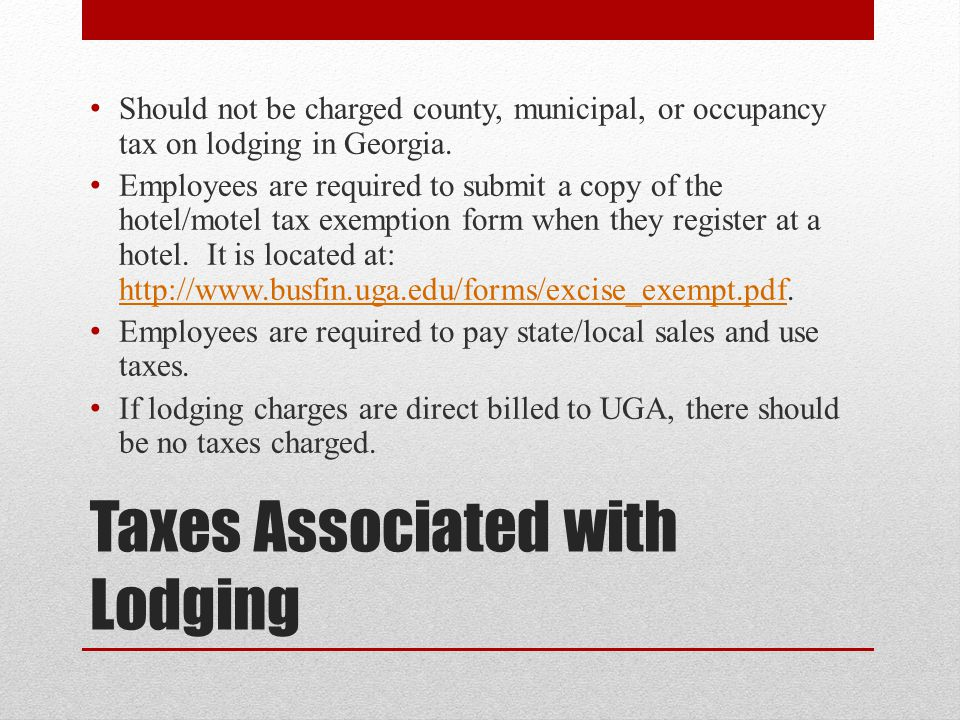 Taxes Associated with Lodging