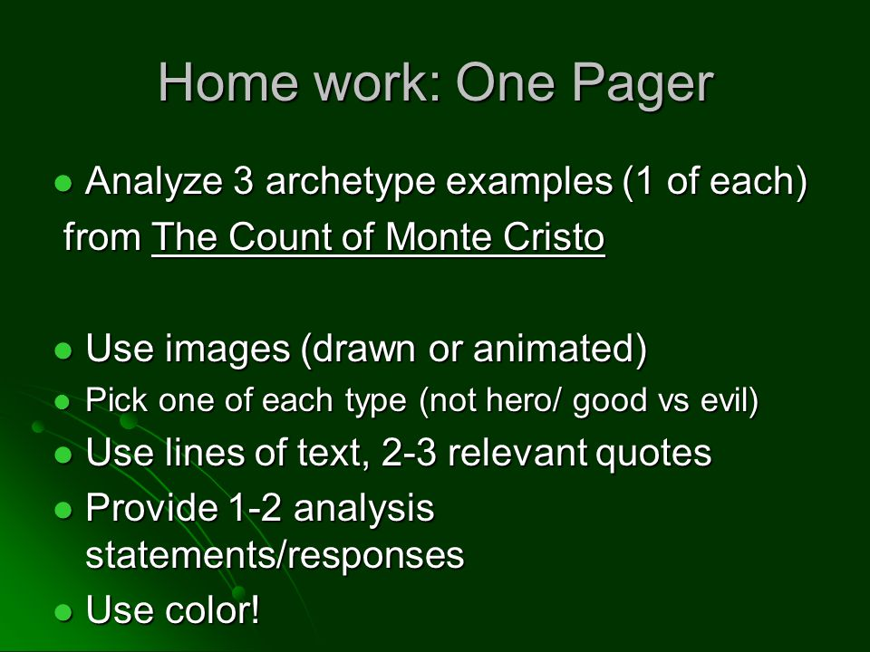 Home work: One Pager Analyze 3 archetype examples (1 of each)
