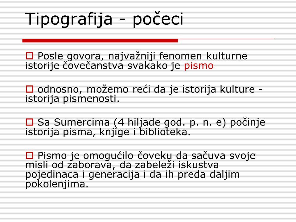 Tipografija - počeci Posle govora, najvažniji fenomen kulturne istorije čovečanstva svakako je pismo.