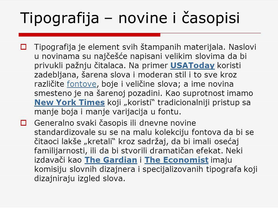 Tipografija – novine i časopisi