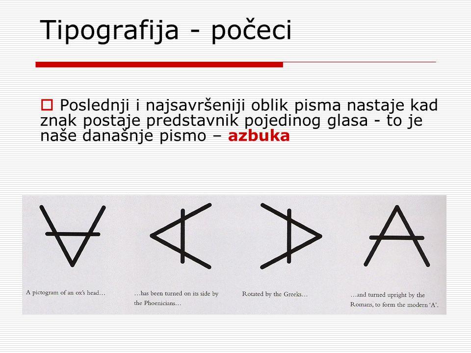 Tipografija - počeci Poslednji i najsavršeniji oblik pisma nastaje kad znak postaje predstavnik pojedinog glasa - to je naše današnje pismo – azbuka.