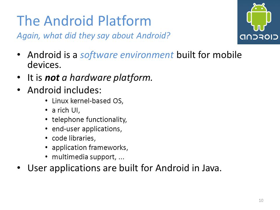 The Android Platform Again, what did they say about Android