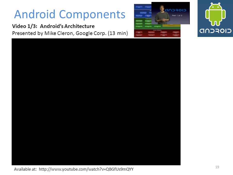 Android Components Video 1/3: Android's Architecture