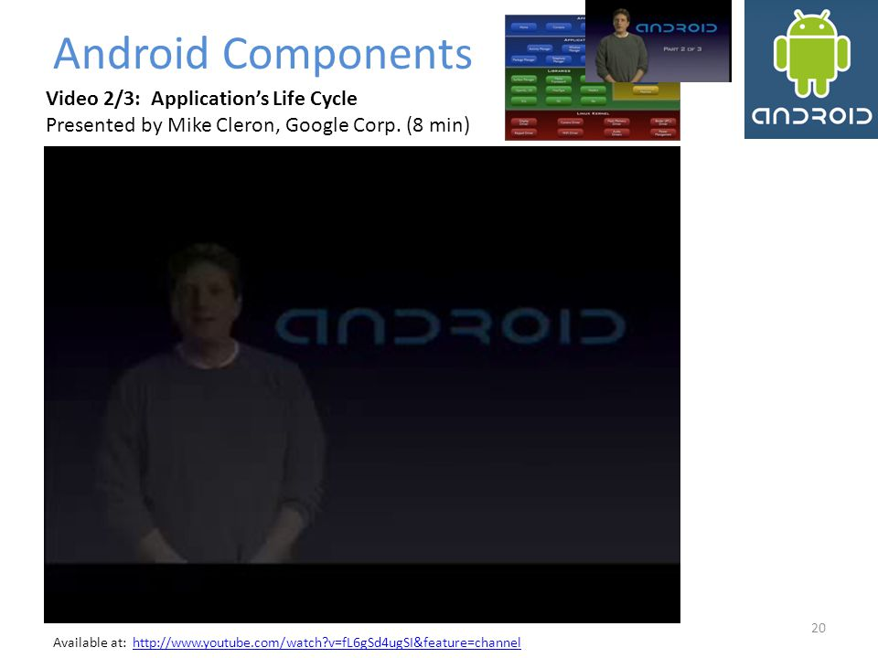 Android Components Video 2/3: Application's Life Cycle