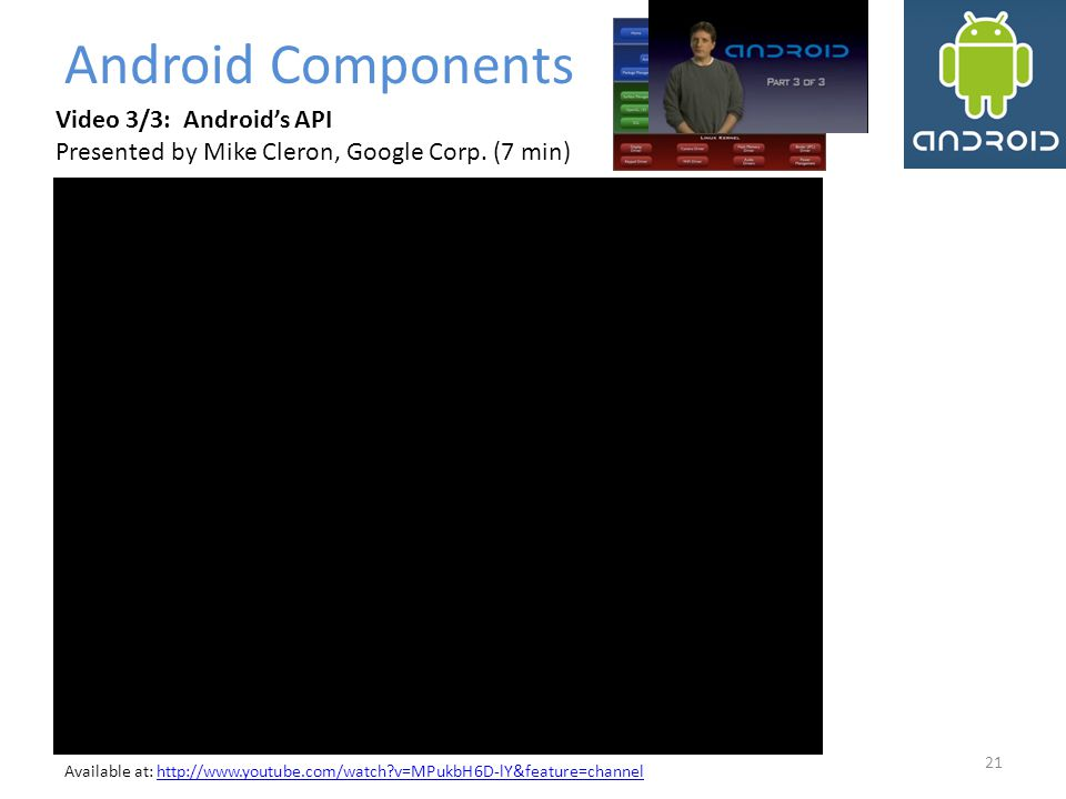 Android Components Video 3/3: Android's API