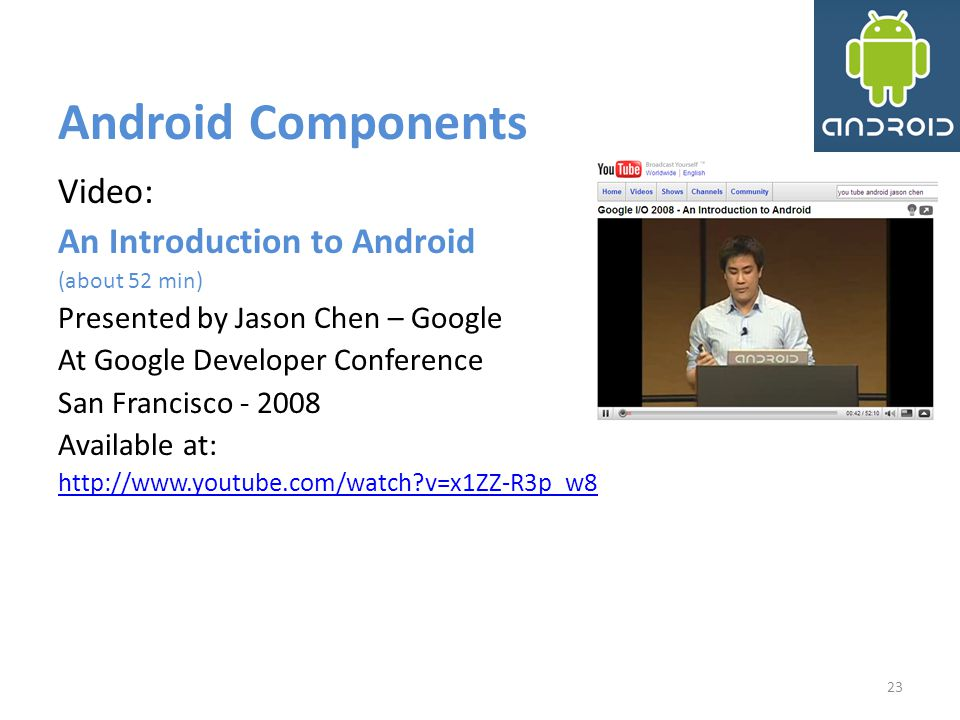 Android Components Video: An Introduction to Android