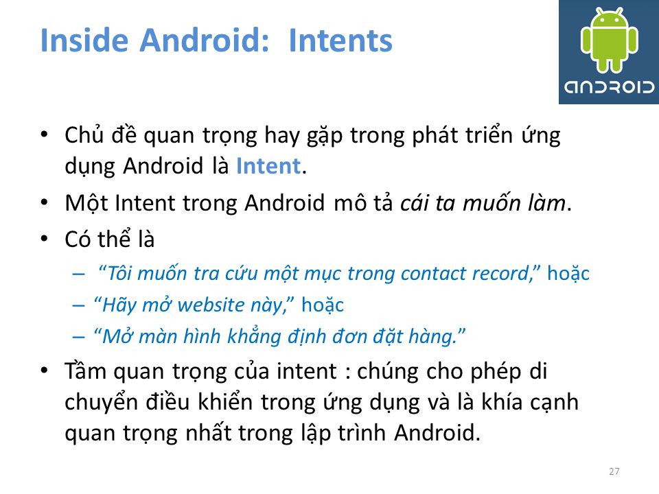 Inside Android: Intents